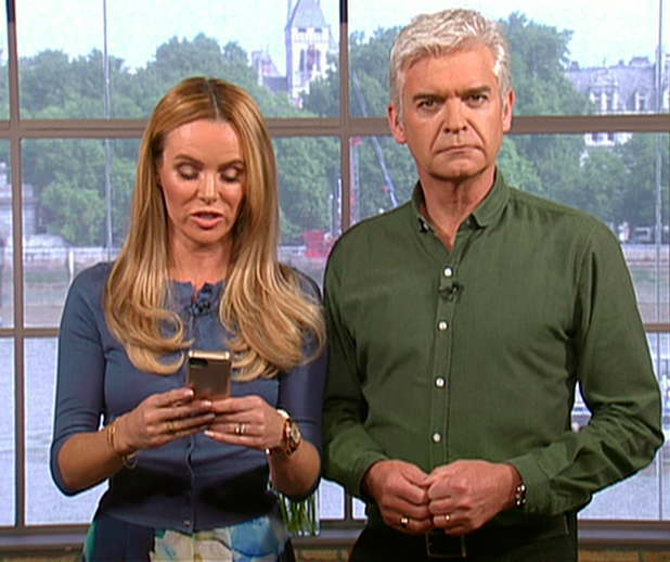 Amanda Holden reads out a text message from Simon Cowell about the new judges on 'The X Factor' on 'This Morning' Broadcast on ITV1 HD