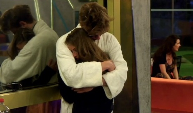 Nikki is comforted by Nick after Brian Belo's dramatic exit from the Big Brother house. 23 June 2015.