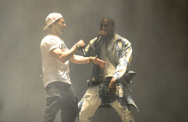 Comedian Lee Nelson invades stage during Kanye West set at Glastonbury, 27 June 2015