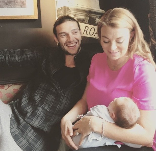 Andy Carroll and Billi Mucklow enjoy day out with baby son Arlo - 23 June 2015.