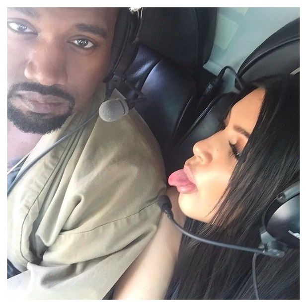 Kim Kardashian and Kanye West arrive at Glastonbury festival by helicopter, 27 June 2015