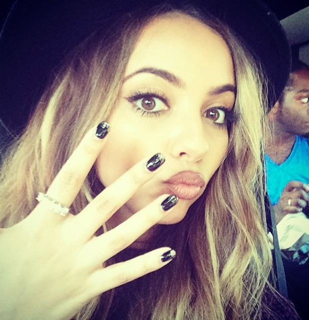 Jade Thirlwall thanks Sunderland fan for ring and shows off black, metallic mani, 19 June 2015