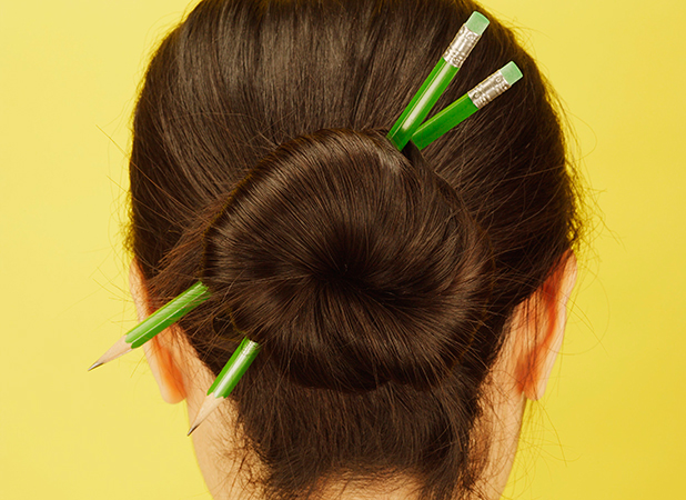Model Released - Woman's Hair With Pencils In It, Hermosa Beach, Ca 18 Jan 2005