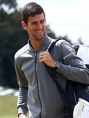 Novak Djokovic of Serbia arrives by helicopter ahead of his match against Richard Gasquets of France during Day 3 of The Boodles Tennis Event at Stoke Park on June 25, 2015 in Stoke Poges, England. (Photo by Jordan Mansfield/Getty Images)