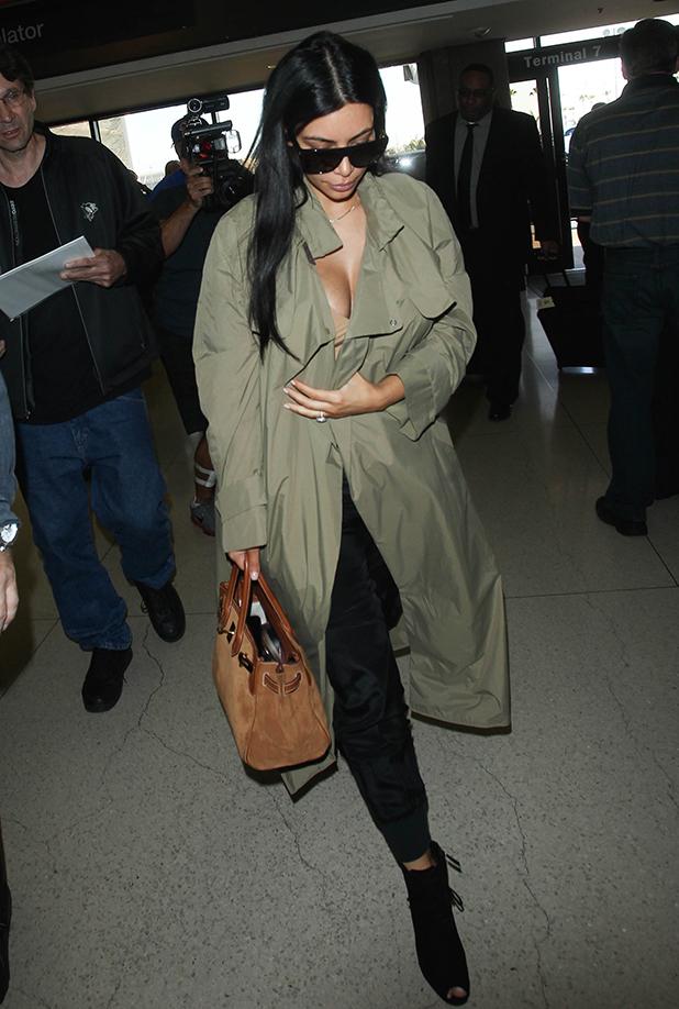 Kim Kardashian is seen at LAX. on June 22, 2015 in Los Angeles, California.