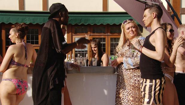 Things kick off in TOWIE between Lauren Pope, Vas J Morgan, Gemma Collins and Bobby Norris, 5 July 2015