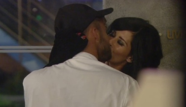 CBB star Jasmine Lennard kisses housemate Cristian MJC in the Big Brother house - 30 June 2015.