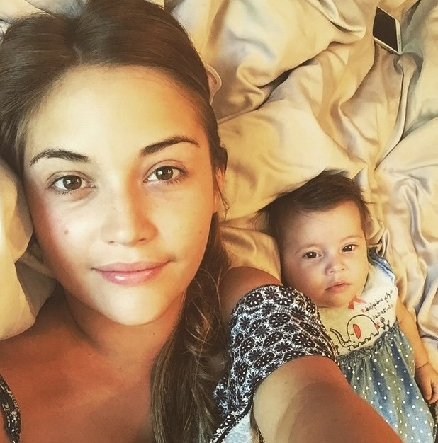 Jacqueline Jossa shares no make-up morning selfie with baby daughter Ella - 29 June 2015.