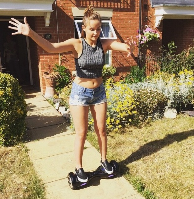 Jacqueline Jossa tries out the oxboard (aka segway with no handles) - 29 June 2015.