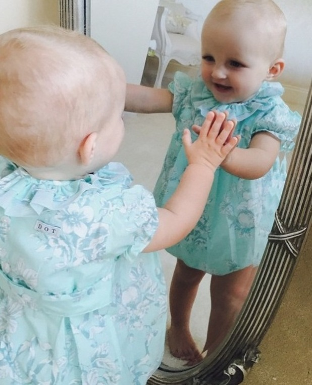 TOWIE star Billie Faiers shares photo of baby girl Nelly posing by a mirror -  30 June 2015.