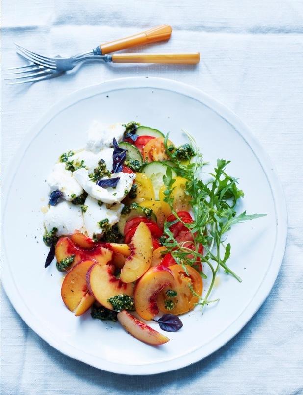 Peach and Buffalo Mozzarella Salad with Pistachio Pesto by annie rigg
