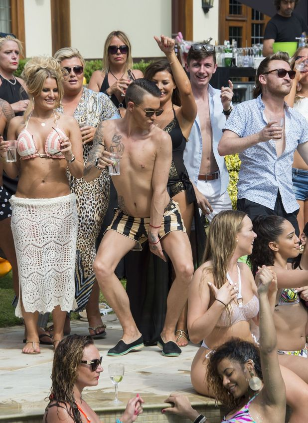 The Only Way is Essex' cast filming - Bobby Norris dancing while filming at a pool party - 1 July 2015.