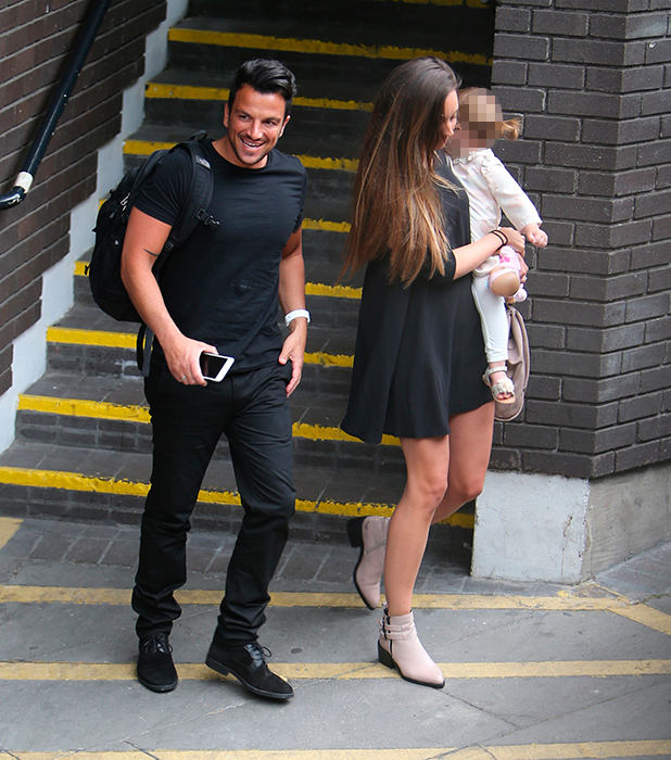 Peter Andre and Emily MacDonagh outside ITV Studios with daughter Millie 2 July 2015