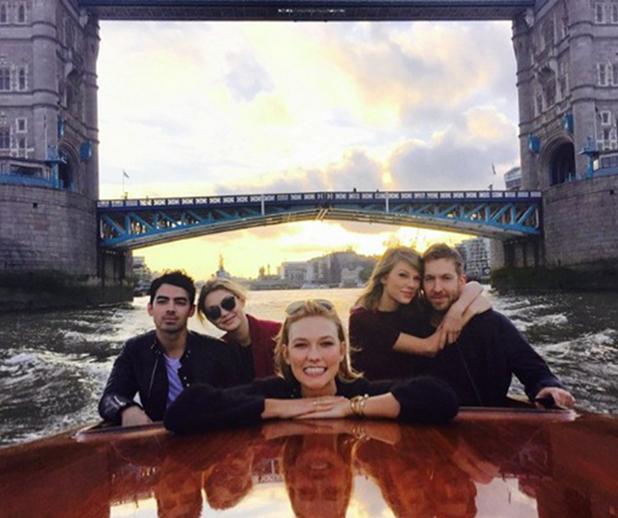 Taylor Swift, Calvin Harris, Joe Jonas, Gigi Hadid, Karlie Kloss on a Thames boat tour, June 2015