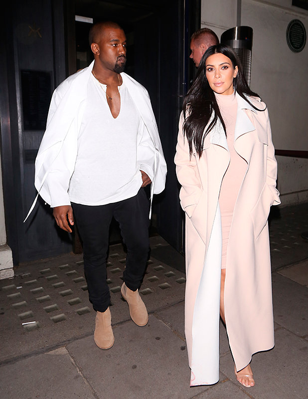 Kim Kardashian and Kanye West out having dinner at Hakkasan restaurant in Mayfair after a private viewing date night at the V&A Museum. After dinner they bought some ice cream at Haagen Dazs before returning to there hotel.