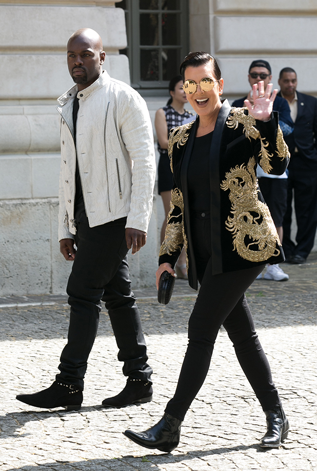 Kris Jenner and Corey Gamble arrive to attend the 'BALMAIN' fashion show on June 27, 2015 in Paris, France. (Photo by Marc Piasecki/GC Images)