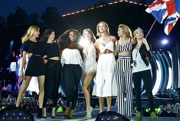 Martha Hunt, Kendall Jenner, Serena Williams, Taylor Swift, Karlie Kloss, Gigi Hadid and Cara Delevingne perform onstage during The 1989 World Tour at Hyde Park on June 27, 2015 in London, England. (Photo by Dave Hogan/TAS/Getty Images for TAS)