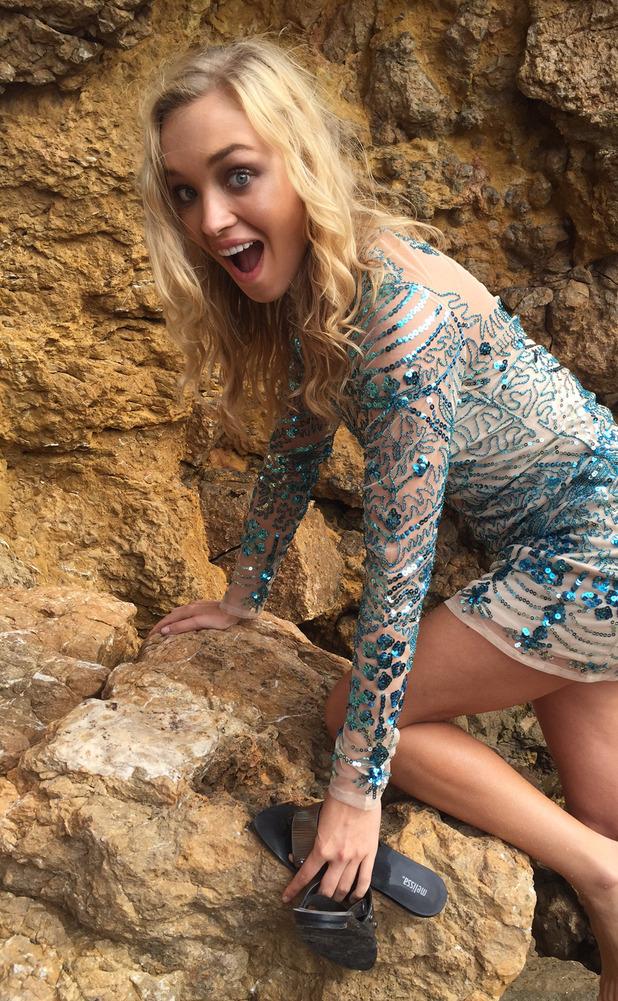 Model in Boohoo.com dress in Ibiza 10th July 2015