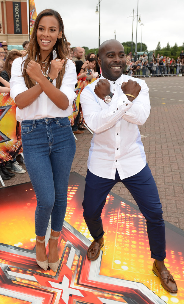 Rochelle Humes and Melvin Odoom arrives at Event City, Trafford Park, Manchester for the X Factor Audtions - 07/07/2015.