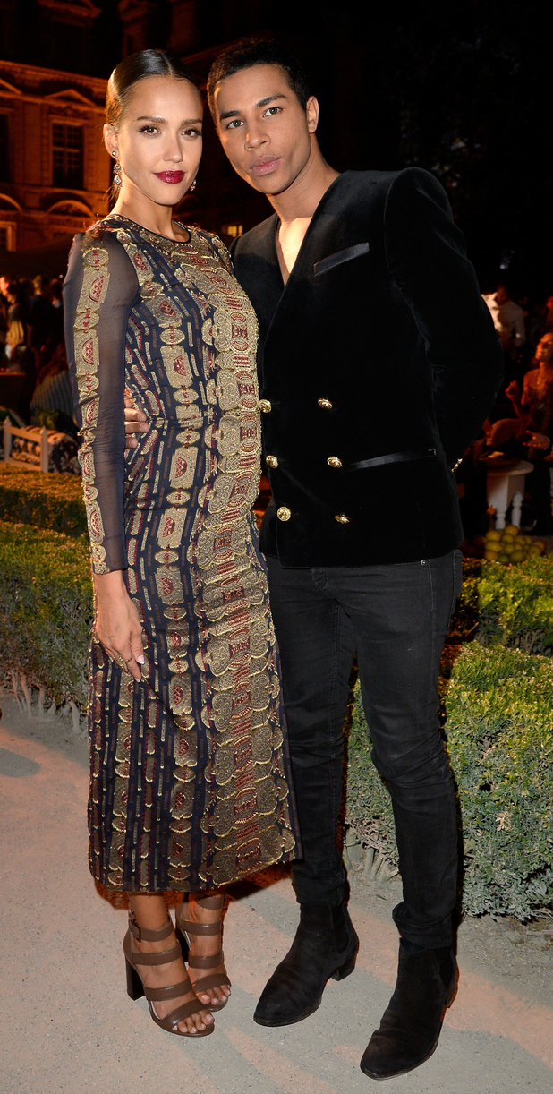 Jessica Alba and Oliver Rousteing at Tory Burch store opening in Paris 8th July 2015
