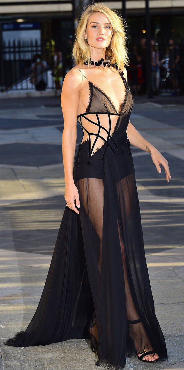 Rosie Huntington-Whiteley at the Atelier Versace Haute Couture show in Paris, Paris Fashion Week 6th July 2015