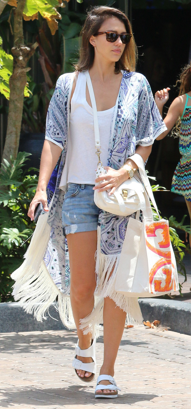 Jessica Alba on outing with daughters Honor and Haven in Malibu, 6th July 2015