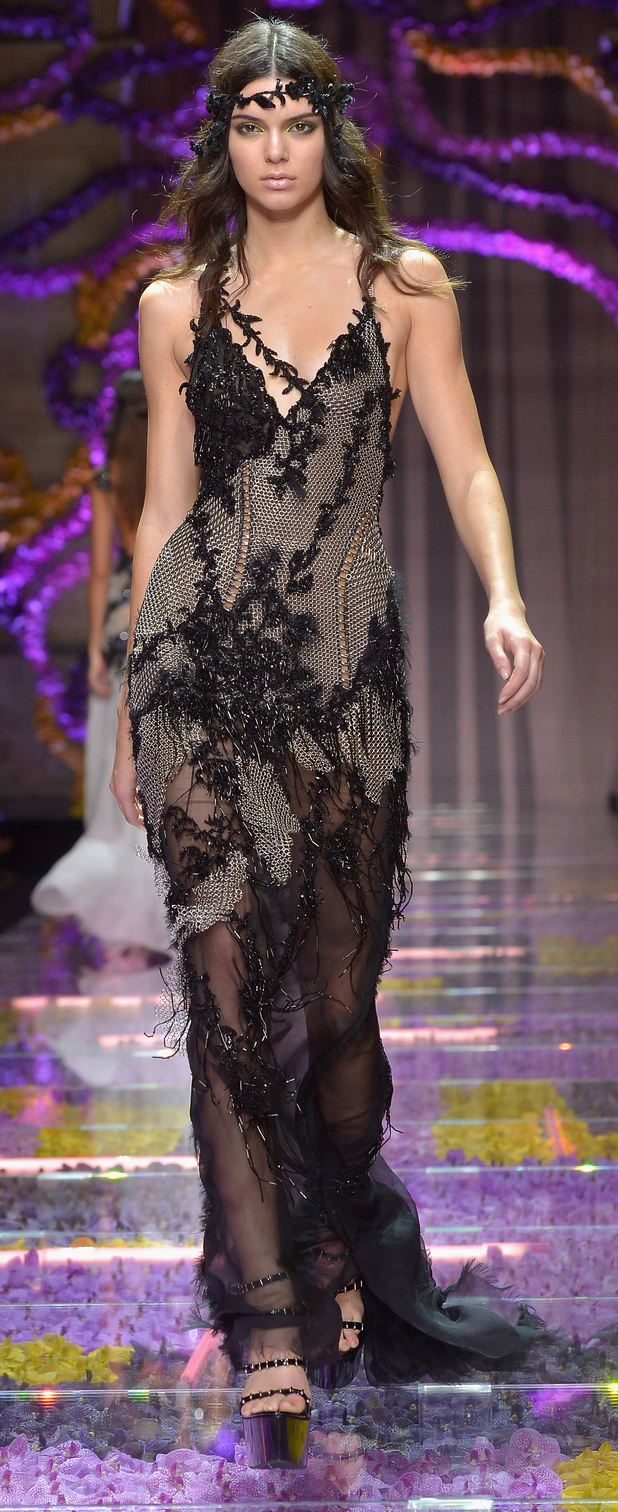 Kendall Jenner walks at the Paris Fashion Week Atelier Versace Show 6th July 2015