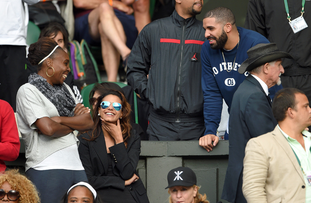 Venus Williams and Drake attend day eight of the Wimbledon Tennis Championships at Wimbledon on July 7, 2015 in London, England.