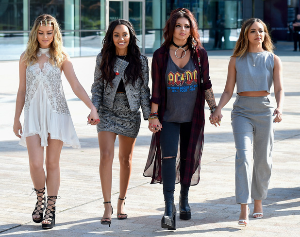 Little Mix, Perrie Edwards, Leigh Anne Pinnock, Jesy Nelson, Jade Thirlwall, arrive at the BBC Breakfast studios
