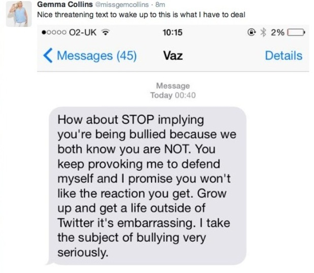 Gemma Collins shares screenshot of a text message, which is believed to be from Vas J Morgan - 5 July 2015.
