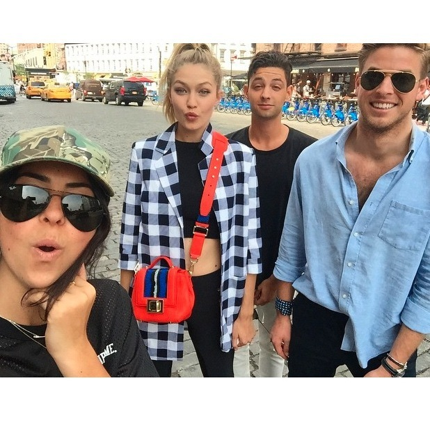 Gigi Hadid out and about in New York with pals, posing for an Instagram selfie 10th July 2015