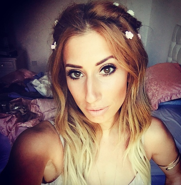 Stacey Solomon selfie, flowers in her hair, pre charity ball, 27 June 2015