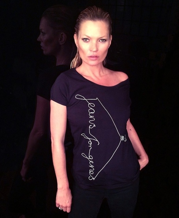 Kate Moss models Jeans for Genes day t-shirt 8th July 2015
