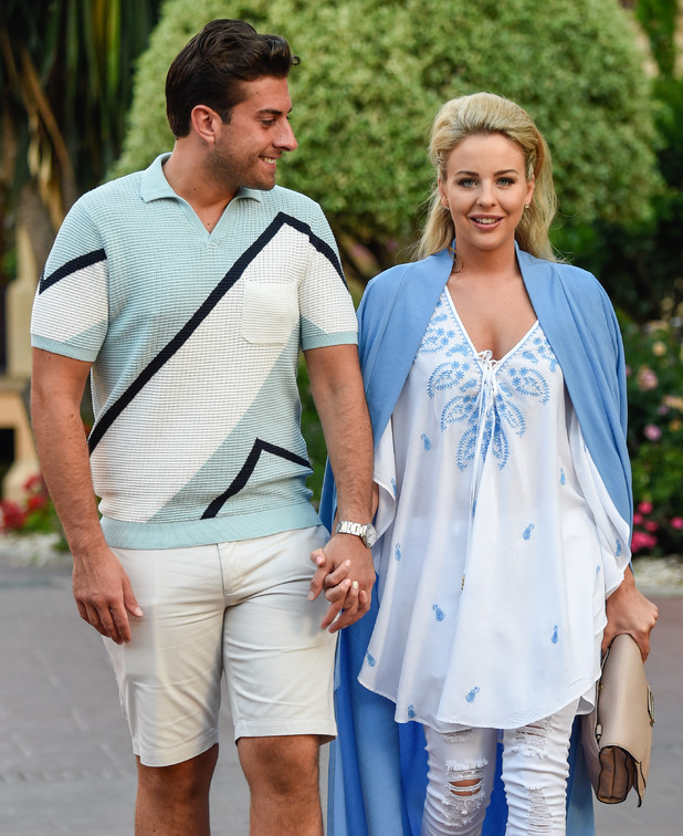 TOWIE's Lydia Bright and James 'Arg' Argent head to dinner in Marbella - 4 June 2015.