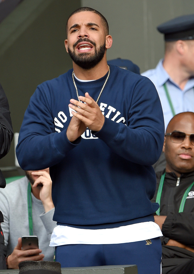 Drake attends day eight of the Wimbledon Tennis Championships at Wimbledon on July 7, 2015 in London, England.