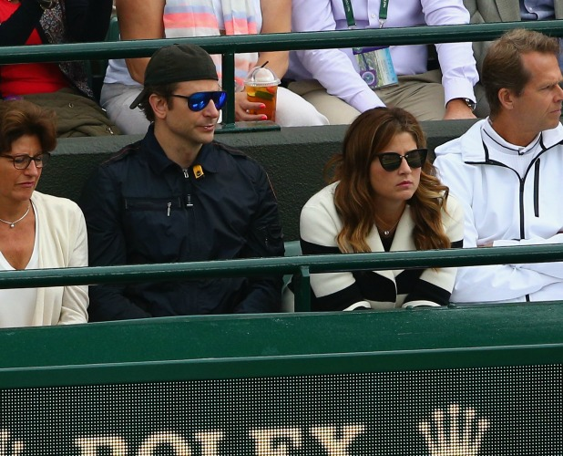 Bradley Cooper and Mirka Federer during day nine of the Wimbledon Lawn Tennis Championships at the All England Lawn Tennis and Croquet Club on July 8, 2015 in London, England. (Photo by Clive Brunskill/Getty Images)