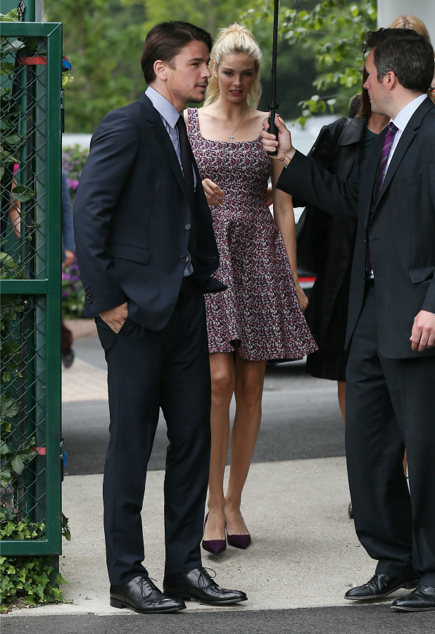 Josh Hartnett and Tamsin Egerton seen arriving at Wimbledon on July 8, 2015 in London, England. (Photo by Neil Mockford/Alex Huckle/GC Images)