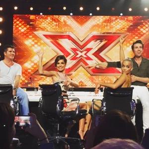 Rita Ora, Cheryl Fernandez-Versini, Simon Cowell and Nick Grimshaw at X Factor audtions, July 2015