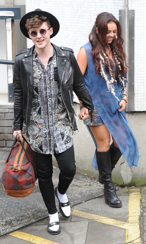 Jesy Nelson and Jake Roche have fun outside the ITV studios - 13 July 2015.