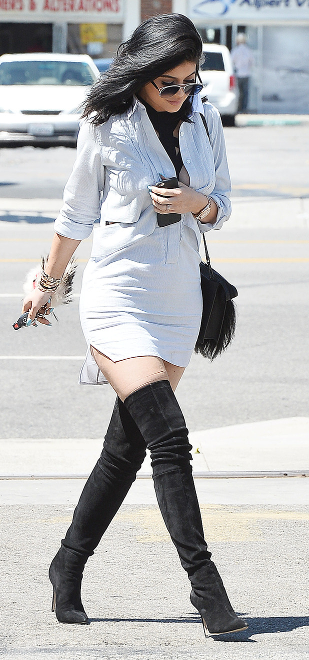 Kylie Jenner wears thigh-high boots out and about in New York, 14th July 2015