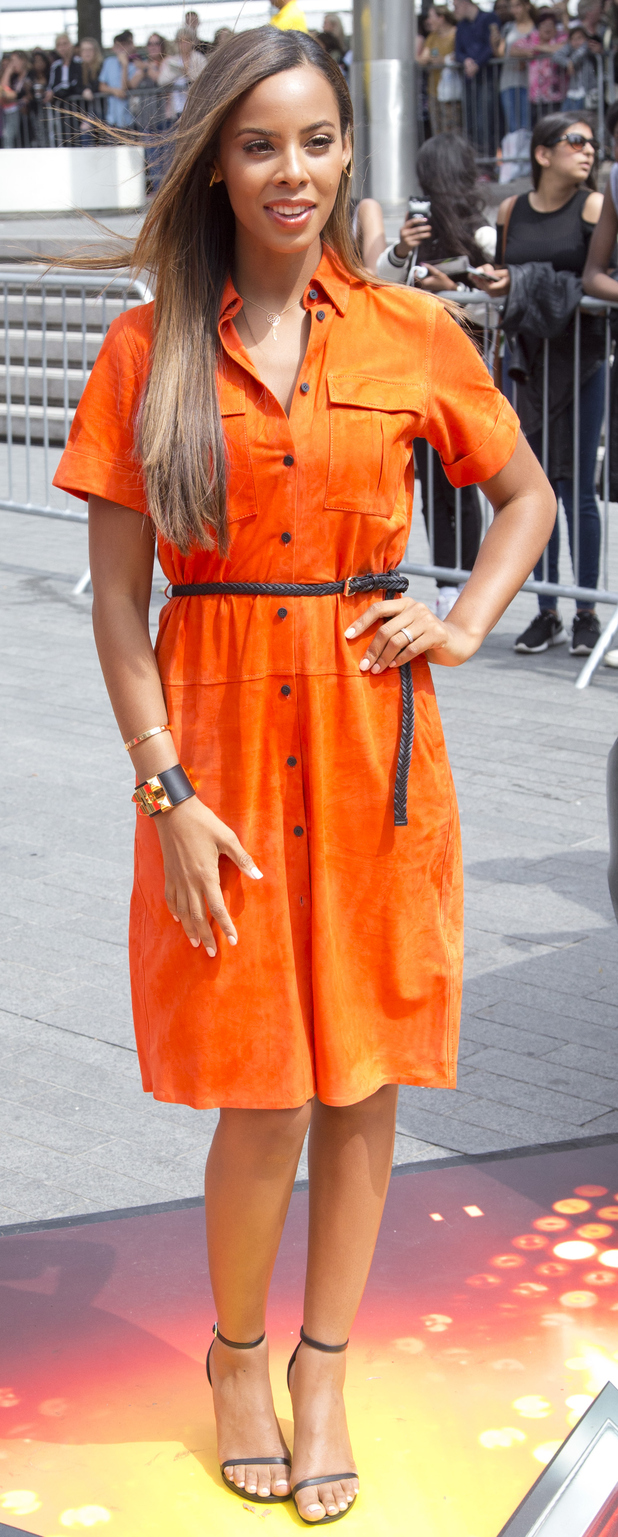 Rochelle Humes wears orange shirt dress while filming the X Factor Auditions in London 17th July 2015