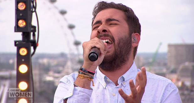 Andrea Faustini performing his debut single 'Give A Little Love' on 'Loose Women'. Broadcast on ITV1 HD - 17 July 2015.