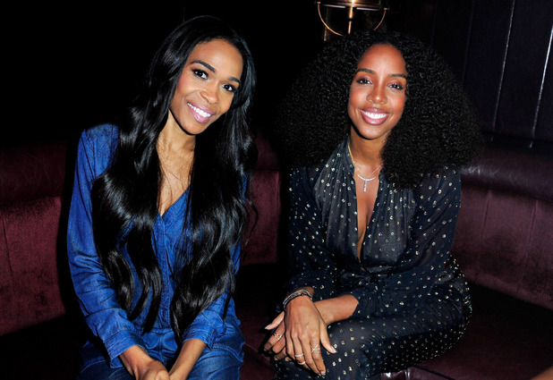 Kelly Rowland and Michelle Williams attend the WE tv's LA Hair Season 4 Premiere Party at Avalon on July 14, 2015 in Hollywood, California.