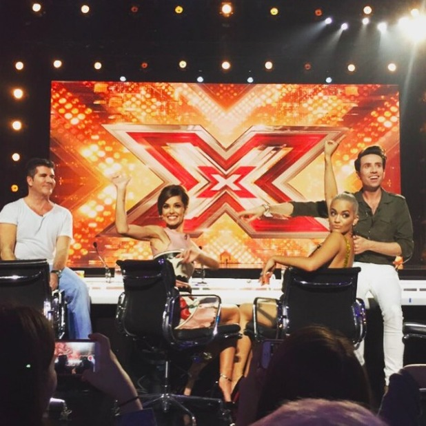 Rita Ora, Cheryl Fernandez-Versini, Simon Cowell and Nick Grimshaw at X Factor audtions, July 2015