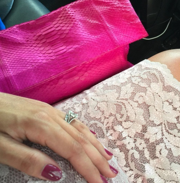 Frankie Bridge shares a picture of her pink nails and clutch bag on Instagram, 16th july 2015