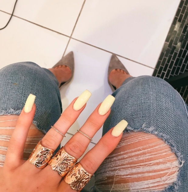 Kylie Jenner shares picture of new yellow manicure on Instagram 14th July 2015