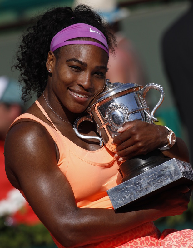 Serena Williams posing with trophy at the French Open 15th July 2015
