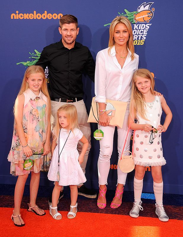 Alex and Steven Gerrard arrive at the Nickelodeon Kids' Choice Sports Awards 2015 at UCLA's Pauley Pavilion on July 16, 2015 in Westwood, California.