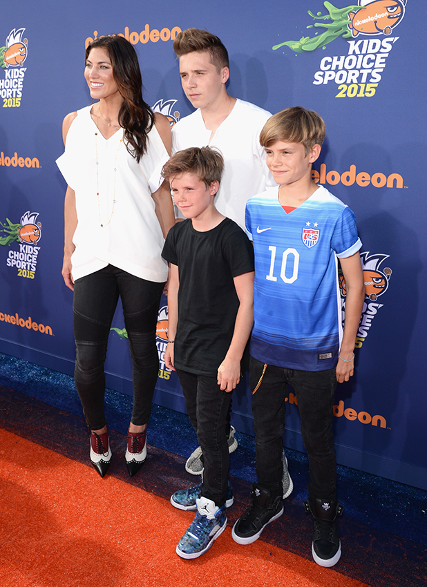 USWNT soccer player & Olympian Hope Solo, models Brooklyn Joseph Beckham, Cruz David Beckham and Romeo James Beckham attend the Nickelodeon Kids' Choice Sports Awards 2015 at UCLA's Pauley Pavilion on July 16, 2015 in Westwood, California.