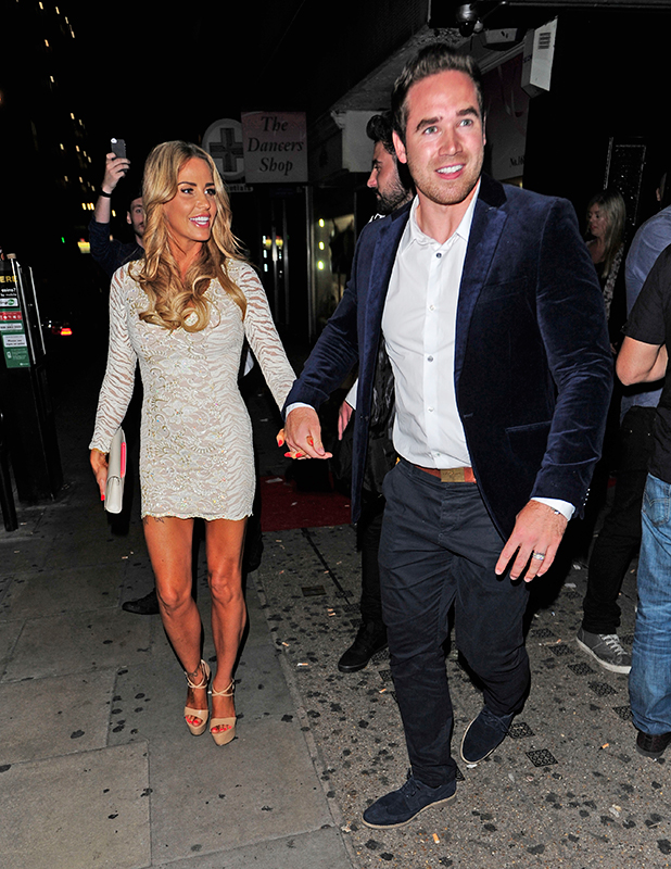 Katie Price holding hands with husband Kieran Hayler arriving at In the Style Summer Party then heading for DSTRKT London nightclub